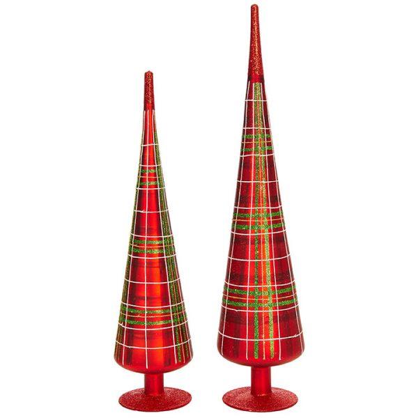Christmas On Main 18 inches PLAID TREE FINIAL