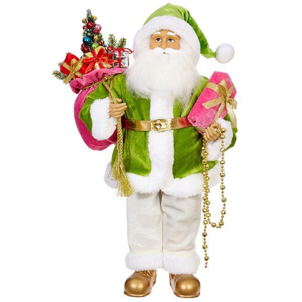 Christmas On Main Pink Green Santa