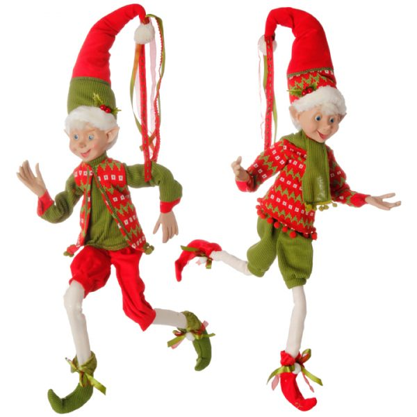 Christmas On Main Red Green Sweater Posable Elf