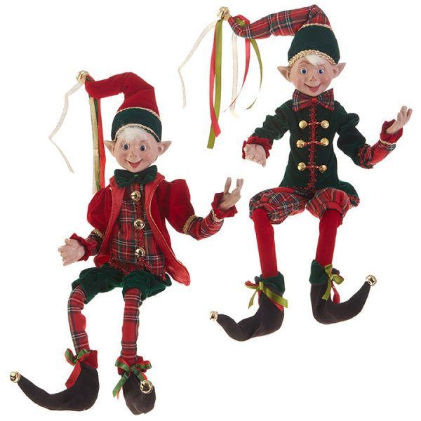 Christmas On Main Tartan Posable Elf