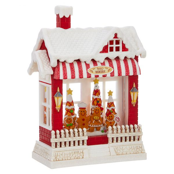 Christmas On Main 10 inches GINGERBREAD FAMILY LIGHTED WATER HOUSE-Mornington-Peninsula