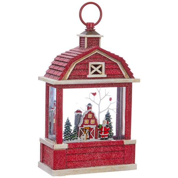 Christmas On Main 10.75 inches SANTA LIGHTED WATER BARN LANTERN-Mornington-Peninsula