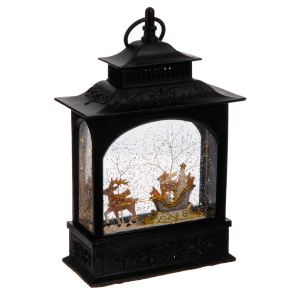 Christmas On Main 11 inches ANIMALS IN SLEIGH LIGHTED WATER LANTERN-Mornington-Peninsula