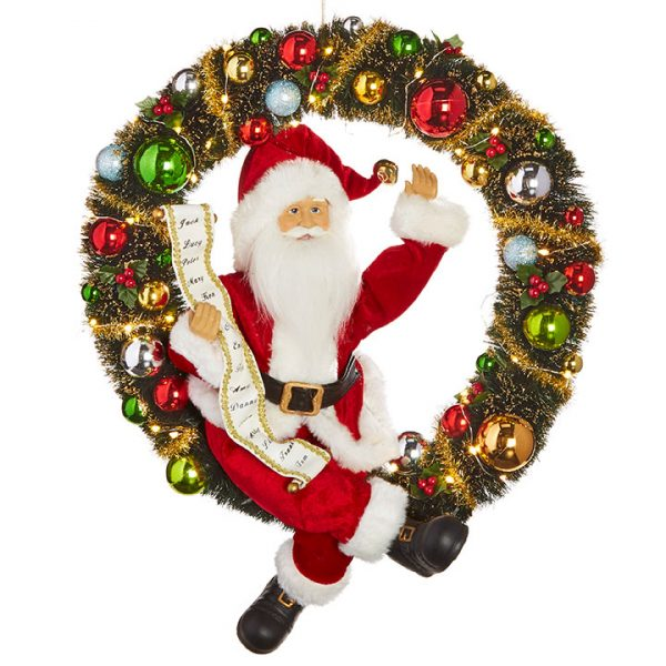 Christmas On Main 19.5 inches LIGHTED WREATH WITH SANTA-Mornington-Peninsula