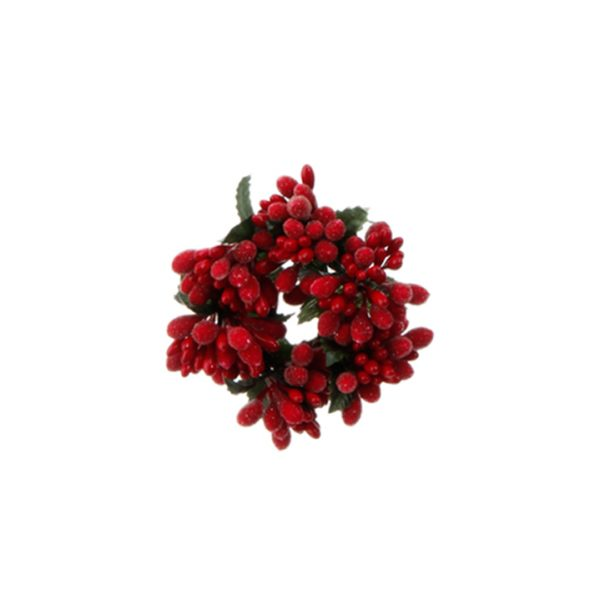 Christmas On Main 3 inches BEADED BERRY CANDLE RING red-Mornington-Peninsula