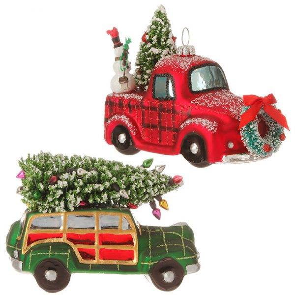Christmas On Main 5 inches AUTOMOBILE WITH TREE ORNAMENT-Mornington-Peninsula