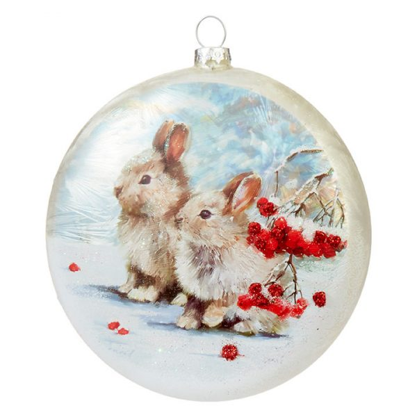 Christmas On Main 5 inches BUNNY DISC ORNAMENT-Mornington-Peninsula