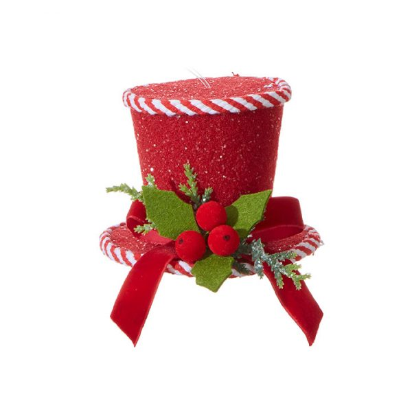Christmas On Main 5 inches PEPPERMINT TOP HAT ORNAMENT-Mornington-Peninsula