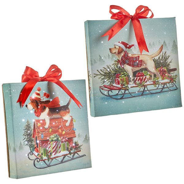 Christmas On Main 6 inches DOG LIGHTED PRINT ORNAMENT WITH EASEL BACK-Mornington-Peninsula