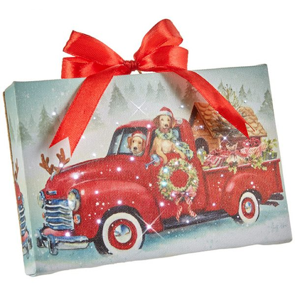 Christmas On Main 6 inches DOGS IN TRUCK LIGHTED PRINT ORNAMENT WITH EASEL BACK-Mornington-Peninsula