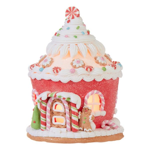 Christmas On Main 6.5 inches GINGERBREAD LIGHTED CUPCAKE HOUSE-Mornington-Peninsula