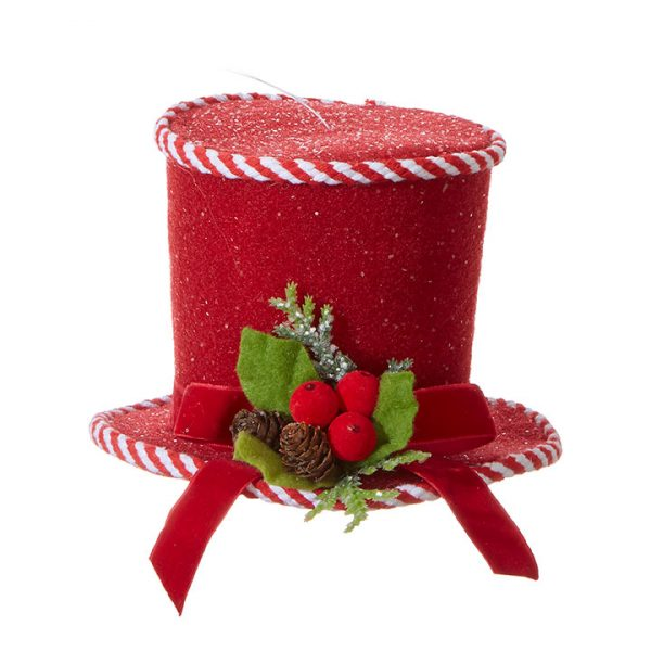 Christmas On Main 7 inches PEPPERMINT TOP HAT ORNAMENT-Mornington-Peninsula