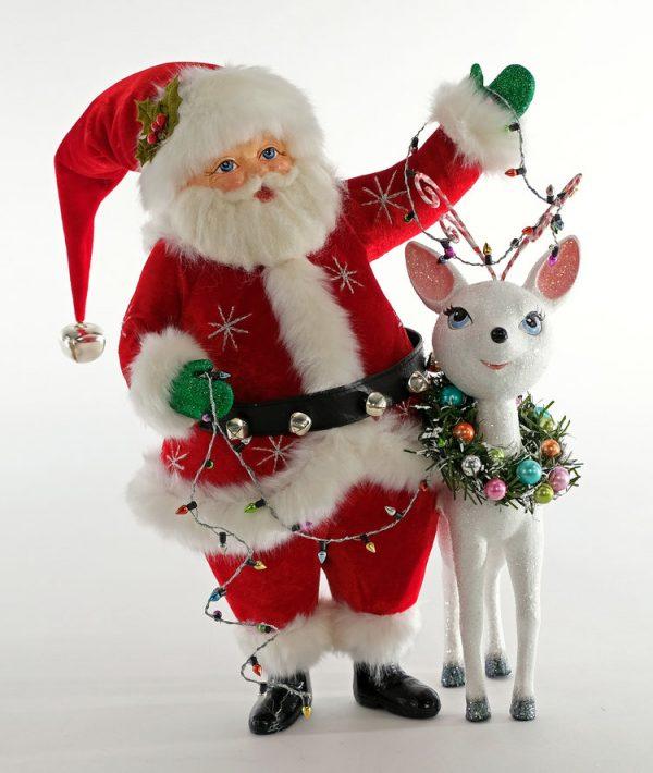 Mistletoe Santa with Reindeer Figurine