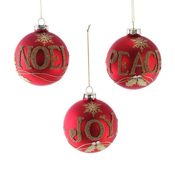 Peace Joy Noel Glass Ornament 3A