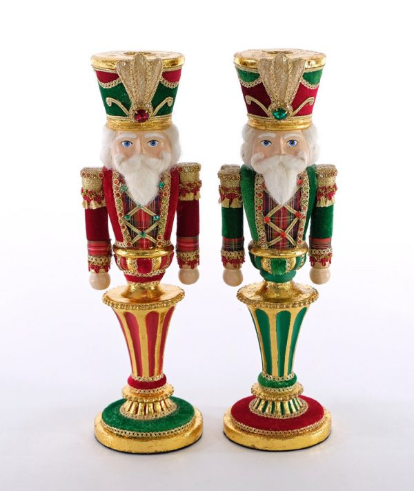 Wishes Nutcracker Candle Holder Set of 2