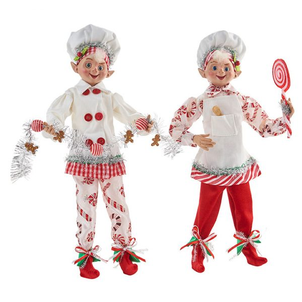 Christmas On Main - 16 Inches Candy Cane Posable Elf