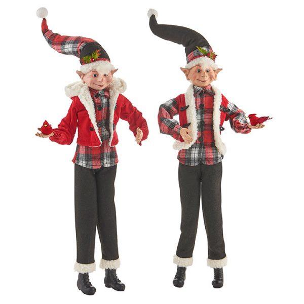 Christmas On Main - 24 Inches Buffalo Plaid Posable Elf