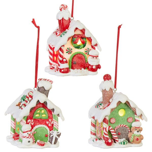 Christmas On Main - 3.75 Inches Lighted Gingerbread House Ornament