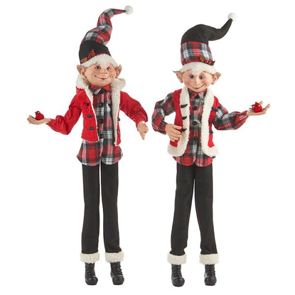 Christmas On Main - 30 Inches Buffalo Plaid Posable Elf