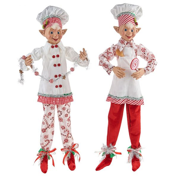 Christmas On Main - 30 Inches Candy Cane Posable Elf