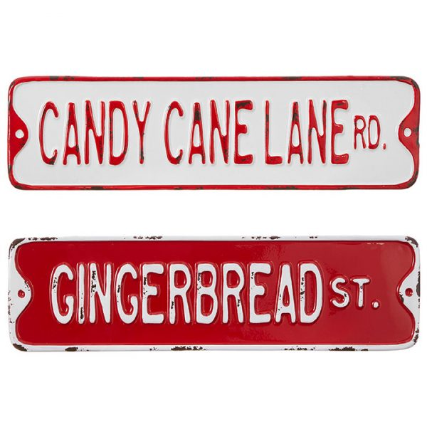 Christmas On Main - Candy Cane Gingerbread Tin Signs