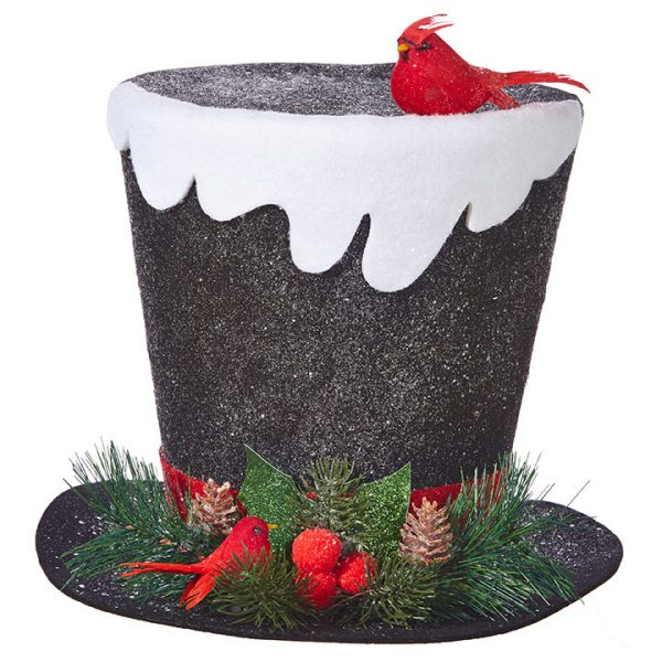 Christmas on Main - 11 Inches Black Top Hat with Snow