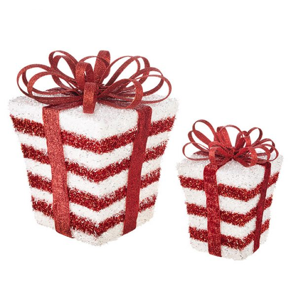 Christmas on Main - 12.5 Inches Red and White package Set of 2