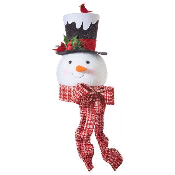 Christmas on Main - 16 Inches Snowman Tree Topper Red Scarf
