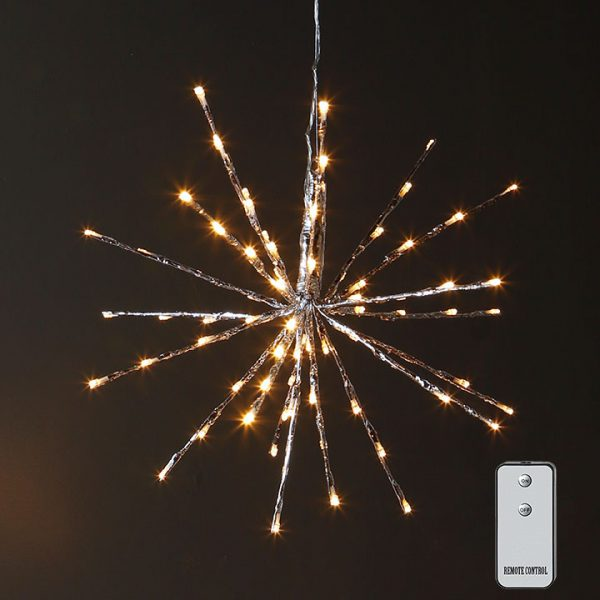 Christmas on Main - 18 Inches Silver starburst 80 Warm Lights