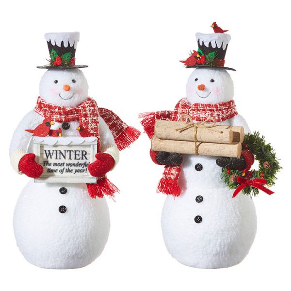 Christmas on Main - 19 Inches Snowman with Red Scarf
