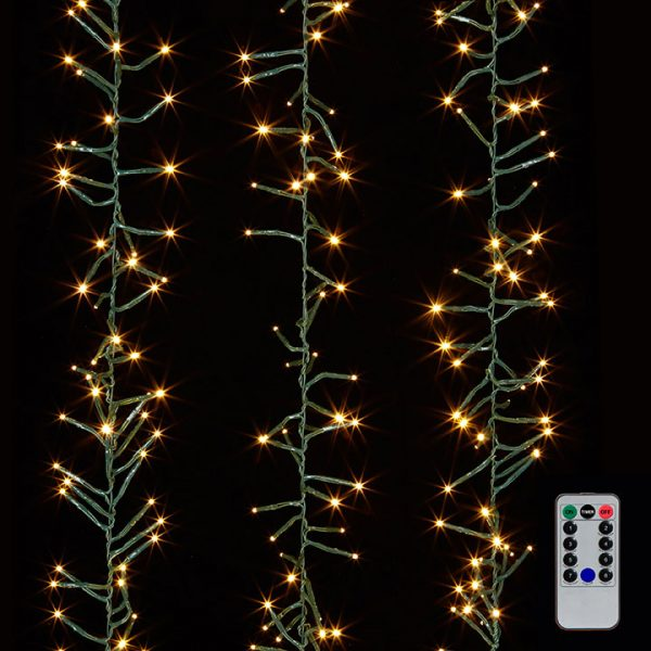 Christmas on Main - 19.6 Inches Cluster Garland Green lights