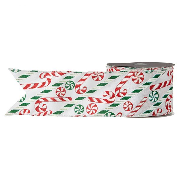 Christmas on Main - 2.5 Inches Candy Cane Ribbon