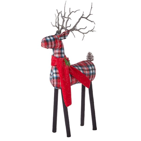 Christmas on Main - 21 Inches Plaid Deer