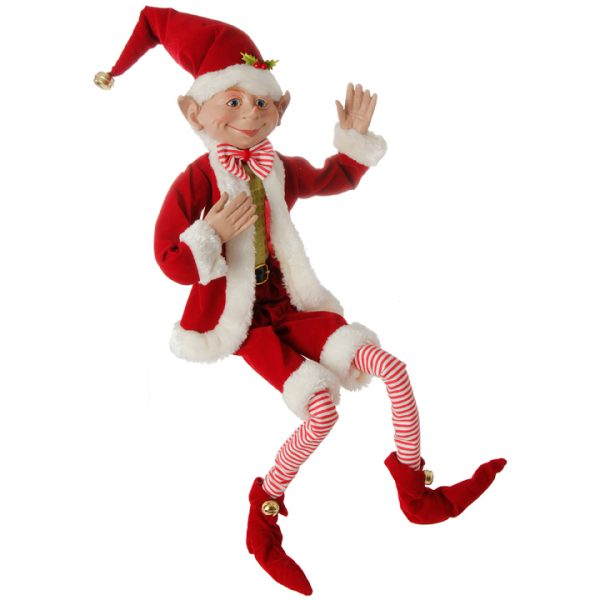 Christmas on Main - 30 Inches Red Poseable Elf