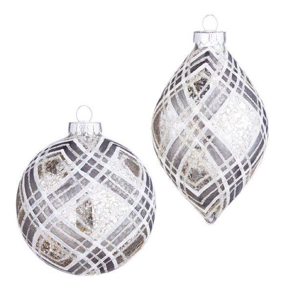 Christmas on Main - 4 Inches Silver Plaid Ornament
