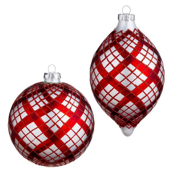 Christmas on Main - 4.75 Red Plaid Ornament