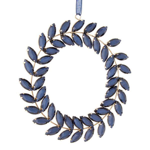 Christmas on Main - Blue Jeweled Wreath Ornament