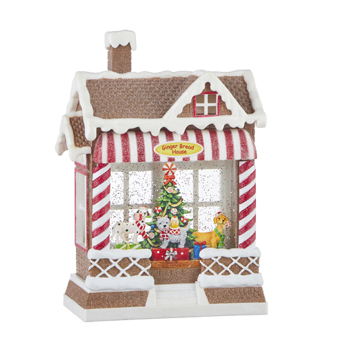 Christmas on Main - Dog Bakery Musical Lighted Water Gingerbread House