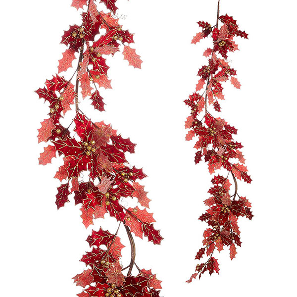 Christmas-on-Main-Red-Holly-Garland-183cm